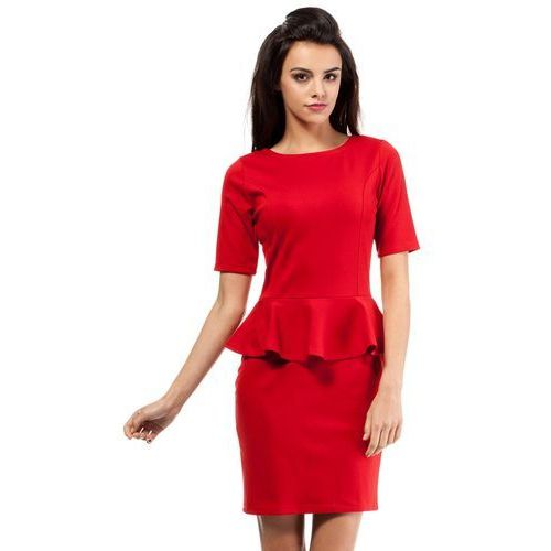 Czerwona Elegancka Dzianinowa Sukienka z Baskinką, z