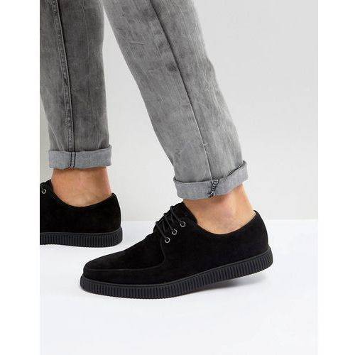 ASOS Lace Up Creeper Shoes In Black Faux Suede - Black