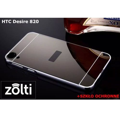 Zestaw | mirror bumper metal case szary + szkło ochronne perfect glass dla htc desire 820 marki Mirror bumper / perfect glass