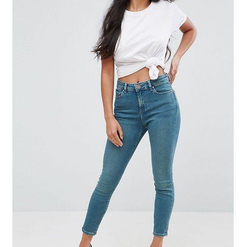 Asos petite  ridley high waist skinny jeans in fleur light green cast - blue