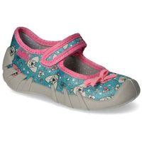 Kapcie dziecięce Befado 109P203 Niebieskie/Różowe pieski, kolor niebieski