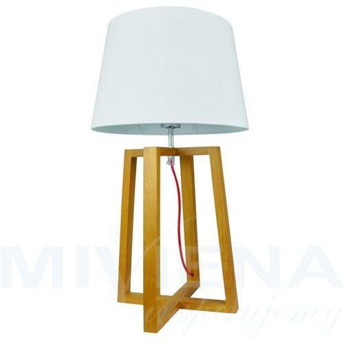 Viokef City lampa stołowa 1 drewno biały abażur