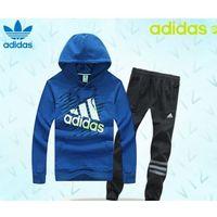 Dresy Adidas Bluza Niebieska ( Białe/zielone logo), Spodnie Czarne/szare PF15093, 15813
