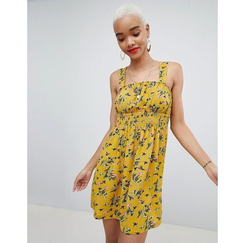 Prettylittlething floral square neck skater dress - yellow
