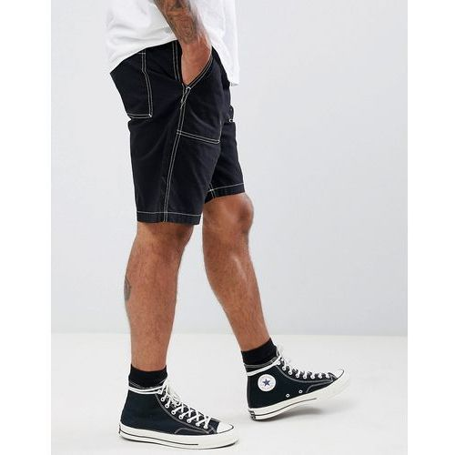 eastside exposed stitching shorts - black, Weekday