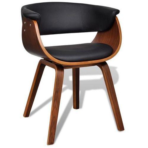 Krzesło do jadalni z drewnianą ramą i sztuczną skórą