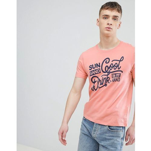 t-shirt with sun and sand print in fluro orange - pink, Esprit, S-L