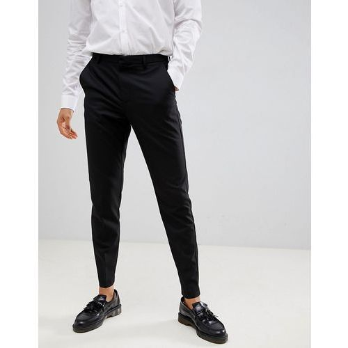tapered fit smart trousers in black - black marki Burton menswear