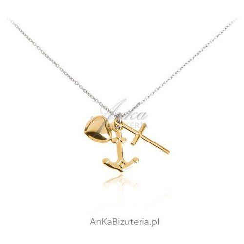 """Naszyjnik srebrny """"wiara nadzieja miłość"""" - piękna biżuteria na prezent marki Anka biżuteria"""