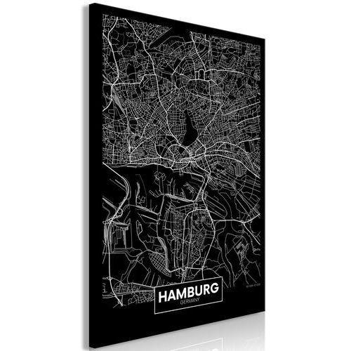 Obraz - Ciemna mapa Hamburga (1-częściowy) pionowy