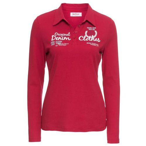 Shirt polo z nadrukiem, długi rękaw bonprix ciemnoczerwony, w 4 rozmiarach