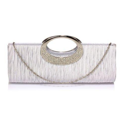 Wielka brytania Kopertówka torebka wizytowa drapowana srebrna - srebrny