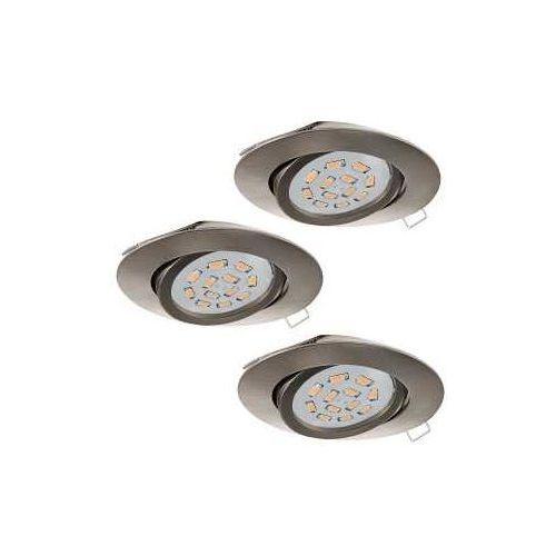 Oczko lampa sufitowa tedo 31689 podtynkowa oprawa metalowa okrągły wpust komplet 3 szt. nikiel satynowany marki Eglo