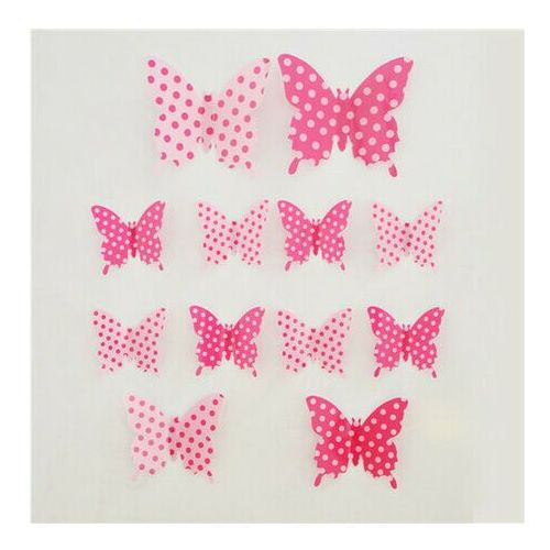 Naklejki 3D motyle różowe kropki, 12 szt.,