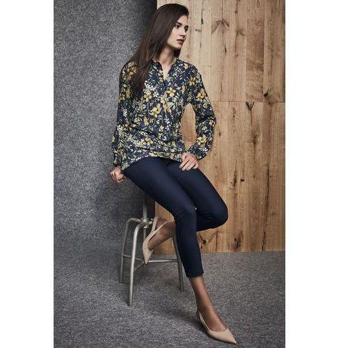 Ennywear Granatowa koszula w kwiatowy motyw -