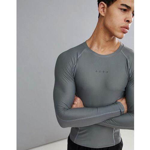compression long sleeve t-shirt with cut & sew in grey - grey, Asos 4505, XXS-XXL