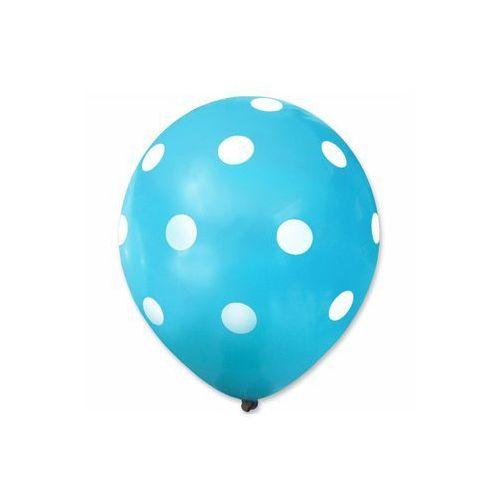 Dp Balony pastelowe niebieskie w białe grochy - 30 cm - 5 szt.