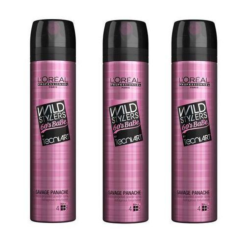zestaw wild stylers 60's babe savage panache   pudrowy spray dodający objętości 250ml x3 marki Loreal