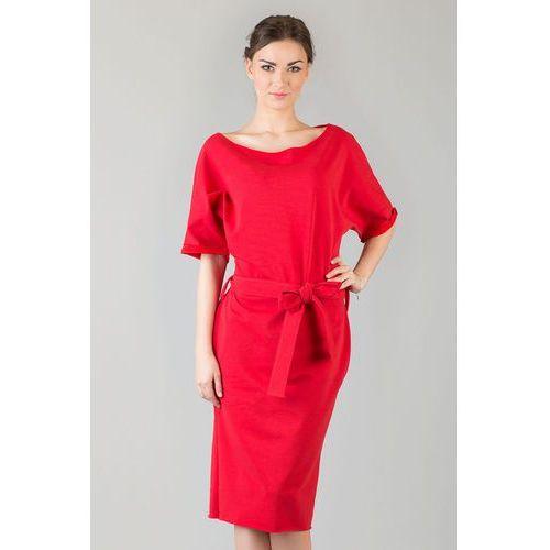 Czerwona dzianinowa prosta sukienka za kolano z wiązanym paskiem, Tessita, 34-46