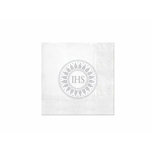 Oms Serwetki komunijne srebrna hostia 33cmx33cm 20szt. (5906360786613)