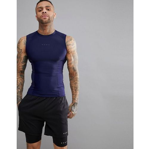 Asos 4505 compression sleeveless t-shirt with cut & sew in navy - navy