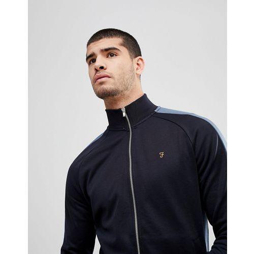irk slim fit tricot zip through sweat jacket in navy - navy marki Farah