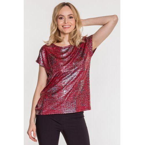 Studio mody pdb Bordowa bluzka z metalicznym nadrukiem -