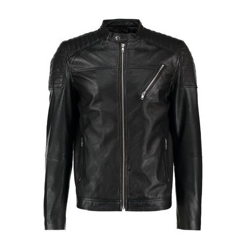 Jack & Jones JCOMORTY LEATHER FIT Kurtka skórzana black (5713441656303)