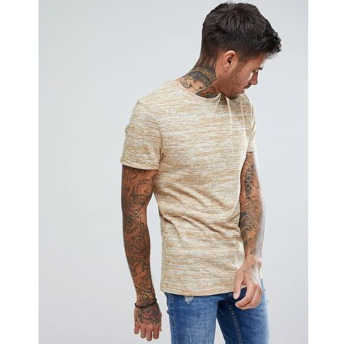 ASOS Muscle T-Shirt In Lightweight Knitted Jersey With Roll Sleeve In Tan - Tan