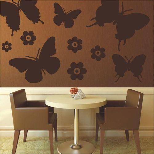 naklejka welurowa zestaw motyle kwiatki 1399