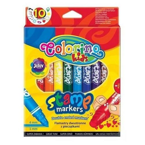 Flamastry Kids dwustronne ze stempelkami 10 kolorów