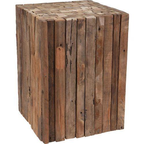 Home styling collection Taboret z naturalnego drewna tekowego - kwadratowy stołek, podnóżek, ciemny brąz