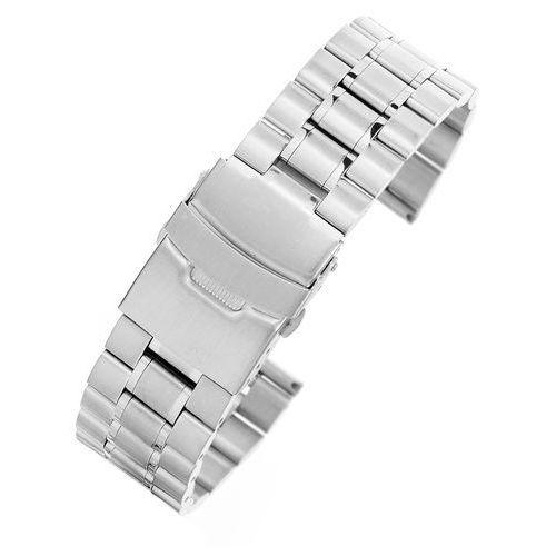 Srebrna stalowa bransoleta do zegarka SS2402- 24 mm, kolor szary