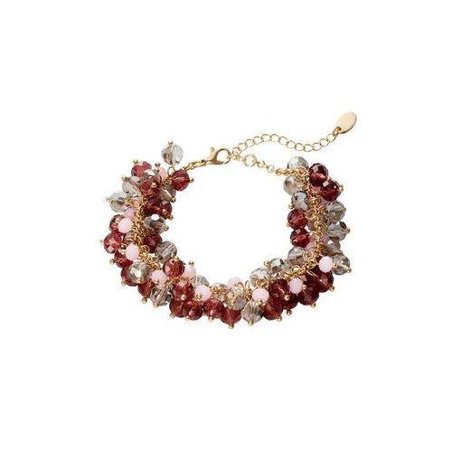 Bransoletka ze szklanymi perełkami bonprix pudrowo-czerwony klonowy