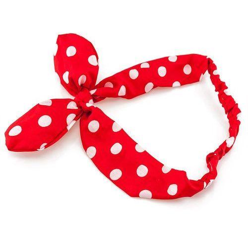 Cloe Opaska do włosów funny na gumce. kokarda. kropka - red-white