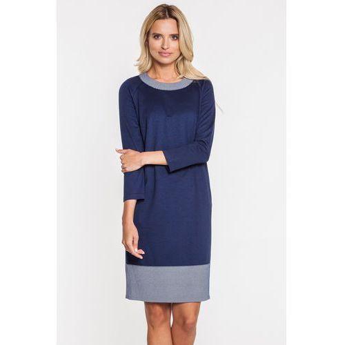 Granatowa sukienka z szerokim przeszyciem na dole - Metafora, kolor niebieski