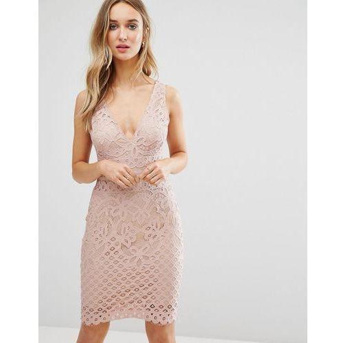 New Look Plunge Lace Bodycon Midi Dress - Pink, kolor różowy