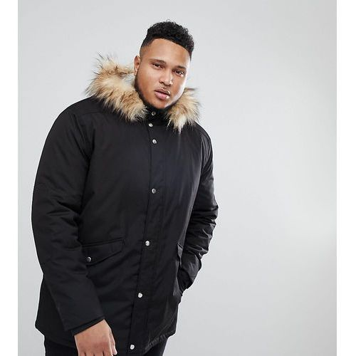 River Island Big and Tall Parka Jacket With Faux Fur Hood In Black - Black