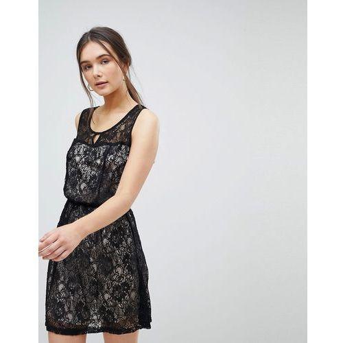 Qed london lace skater dress - black