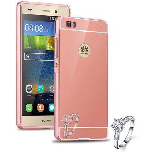metal case różowy   etui dla huawei p8 lite - różowy marki Mirror bumper