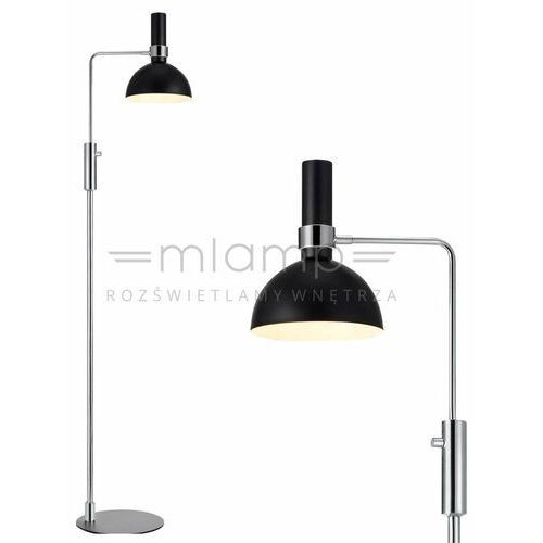 Markslojd Podłogowa lampa stojąca larry 106857 metalowa oprawa kopuła chrom czarna