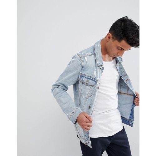 denim trucker distressed jacket in light wash - blue marki Hollister