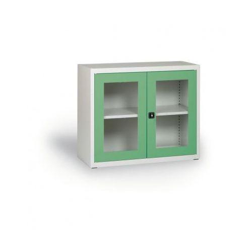 Szafa ze szklanymi drzwiami, 800 x 920 x 400 mm, szaro-zielona