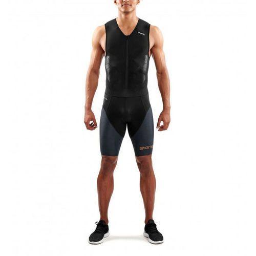 Skins dnamic triathlon mężczyźni with front zip szary/czarny xl 2018 pianki do pływania