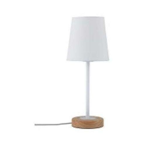 Oprawa stołowa neordic stellan 1 lampa z abażurem w kolorze białym / drewnem, 79636 marki Paulmann