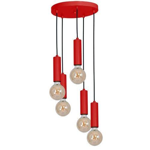 Luminex Lampa wisząca tubes 8511 zwis tuba 5x60w e27 czerwona (5907565985115)