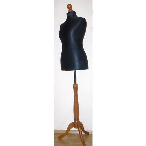 Manekin krawiecki - tors kobiecy krótki czarny - rozmiar 34 na drewnianym, ciemnym trójnogu
