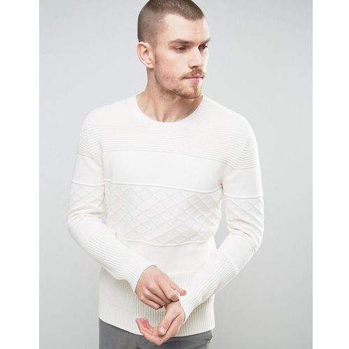 Selected homme  knitted jumper with tonal pattern in 100% cotton - white