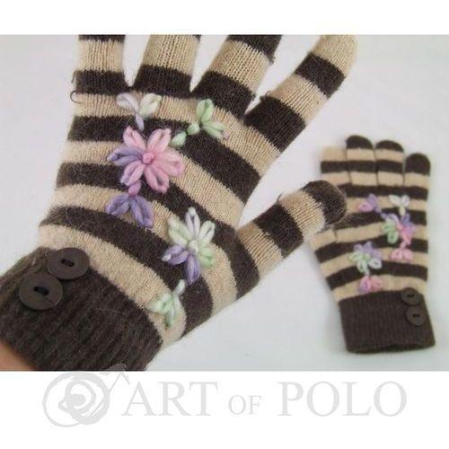 Brązowo-beżowe rękawiczki damskie w paseczki - brązowy   beżowy