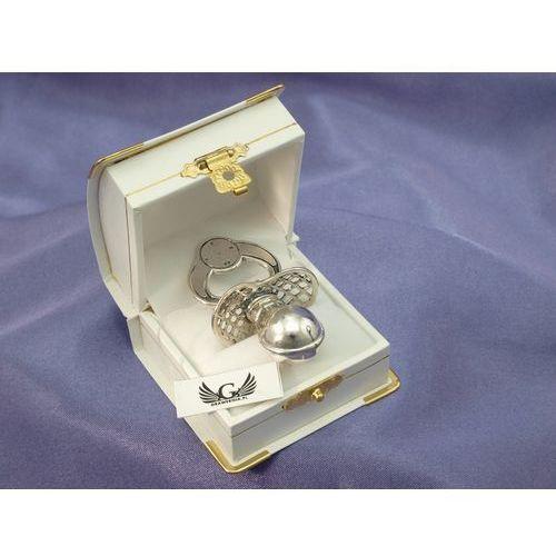 Smoczek srebrny ze schowkiem na ząbek mleczny - wzór SRB017 - Pamiątka Chrztu Świętego